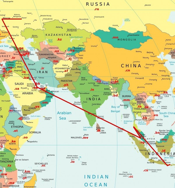 карта маршрута Казань-Москва-Доха-КуалаЛумпур-Пхукет-Бали-Ломбок