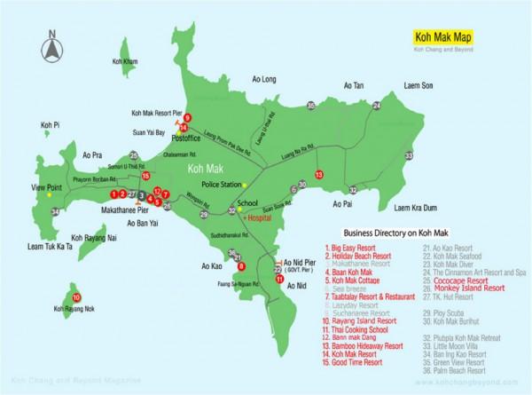 Карта острова Ко Мак