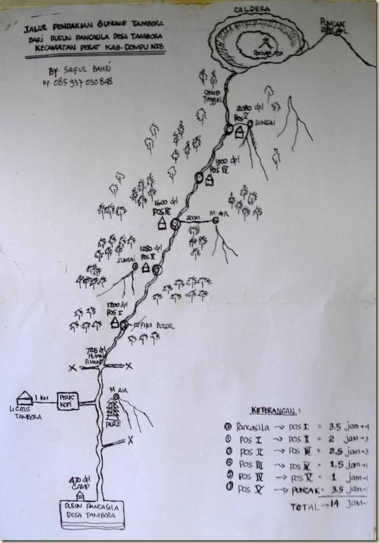 Маршрут восхождения на вулкан Тамбора