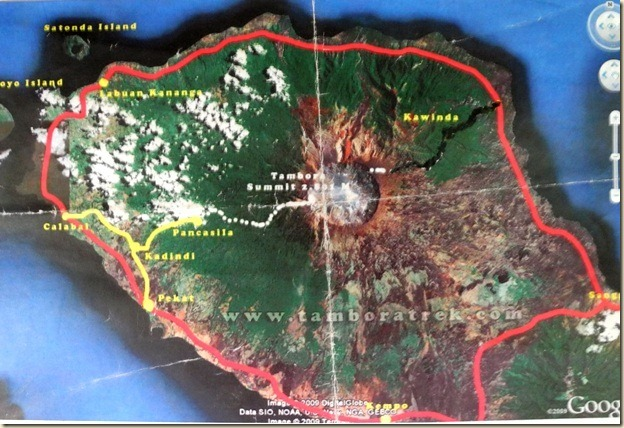 Снимок вулкана Тамбора из космоса