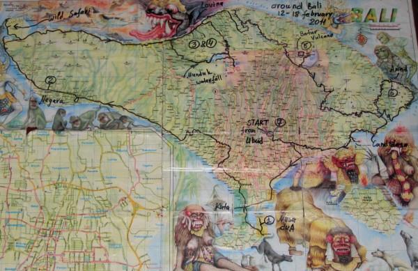 наш маршрут вокруг Бали