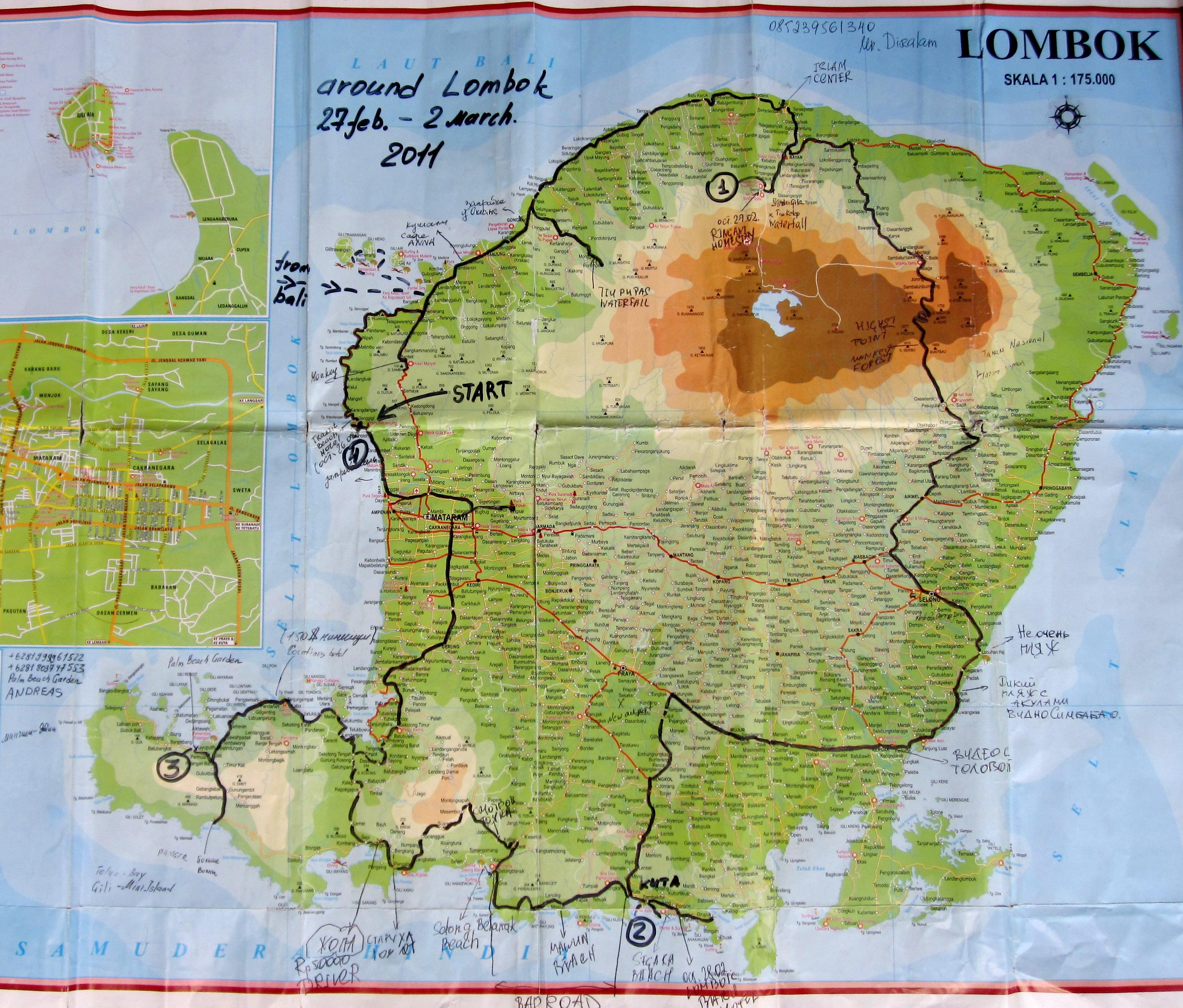 автомаршрут - за 4 дня вокруг Ломбока