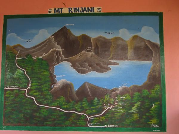 карта трекинга вулкана Ринджани