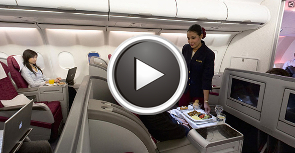 Салон бизнес класса Qatar airways