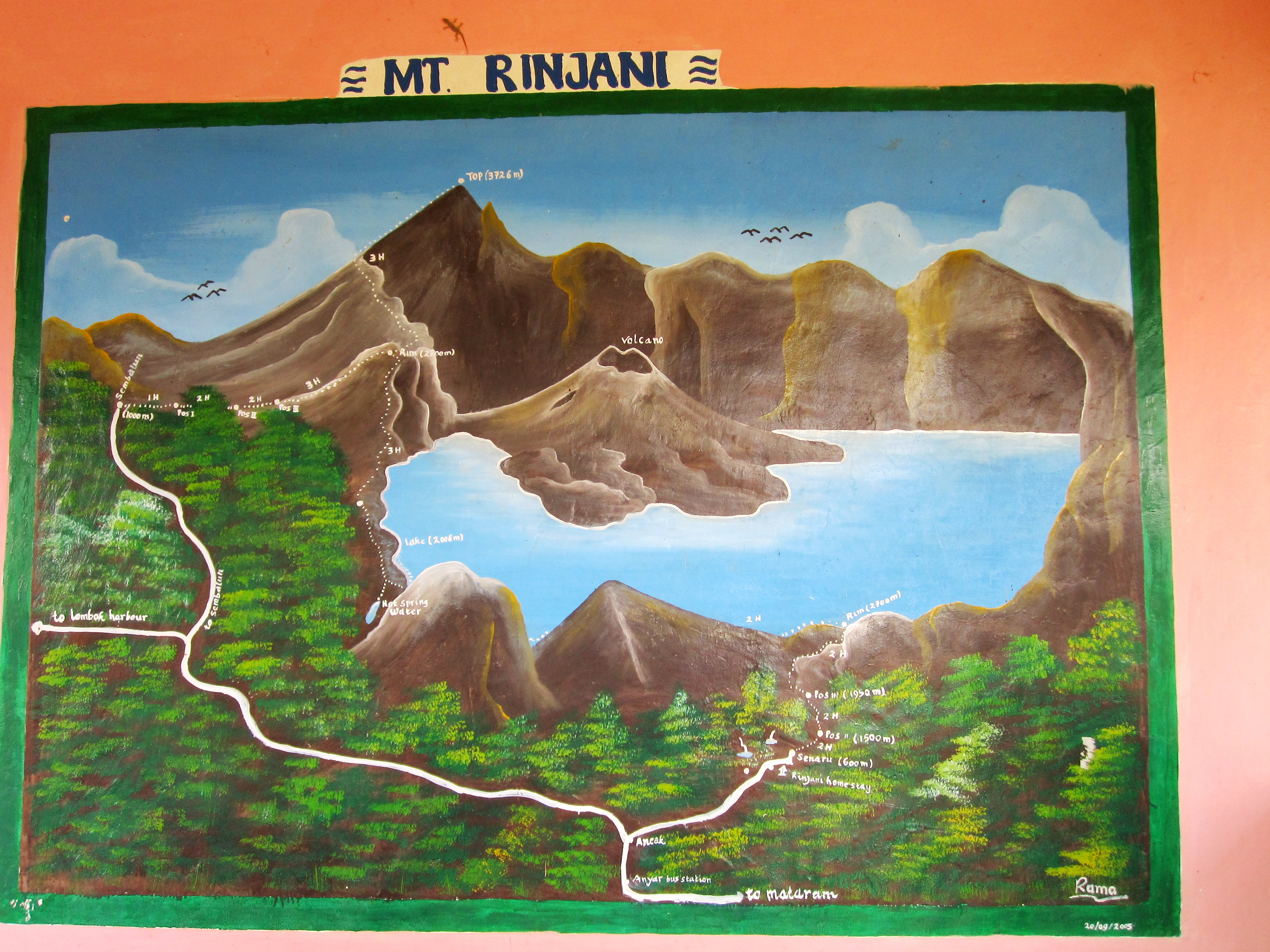 Карта трекинга на Ринджани