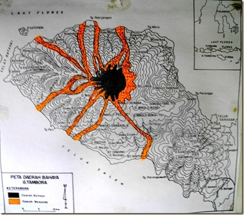 Карта извержения вулкана Тамбора