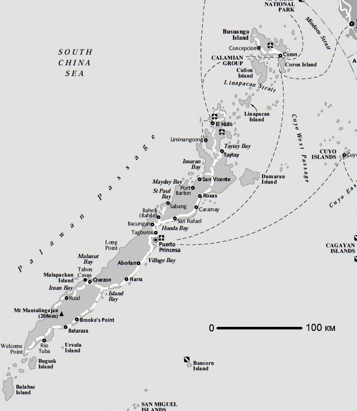 Карта острова Палаван
